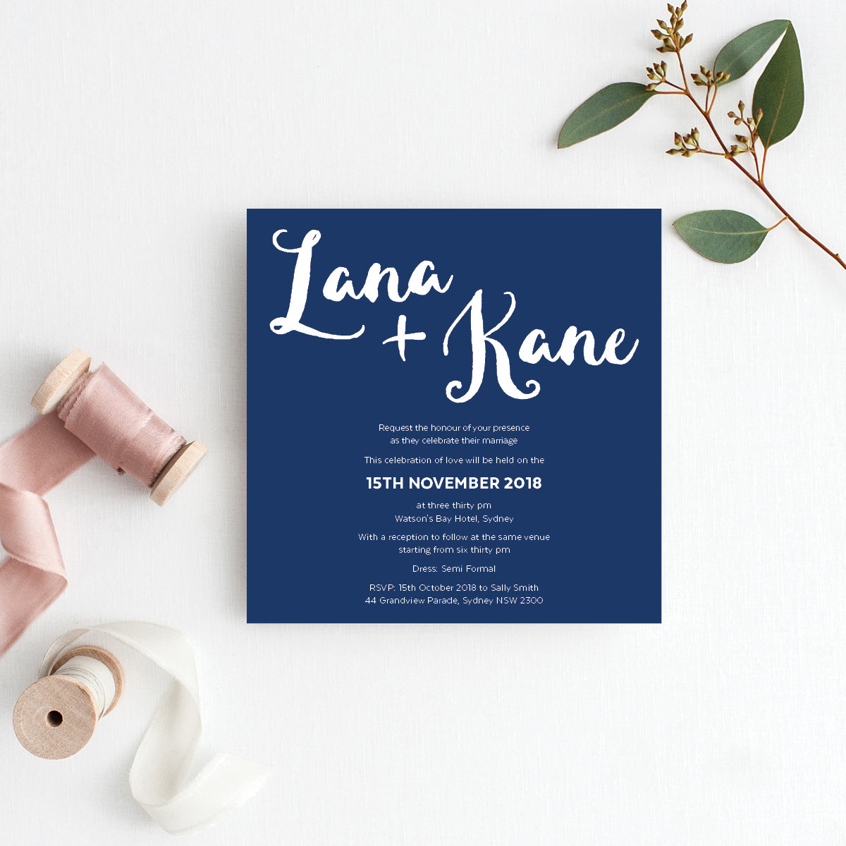 Deep Blue Square Invitation