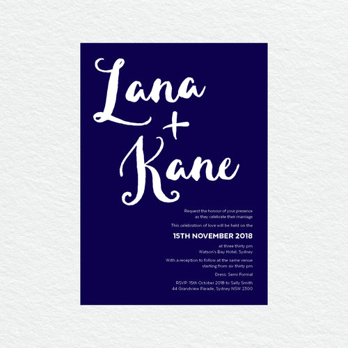 Deep Blue White Ink Invitation