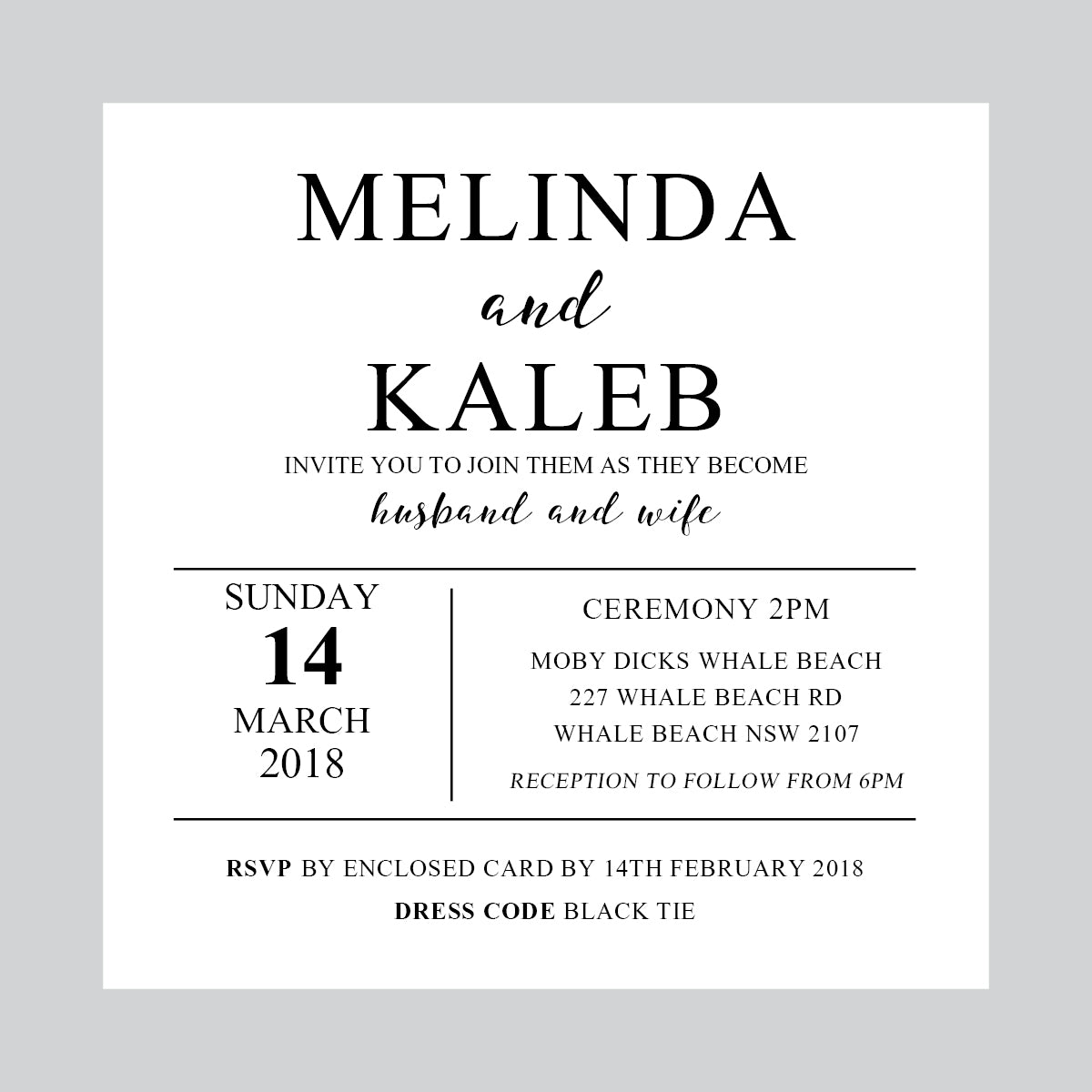 Ebony Script Square Invitation
