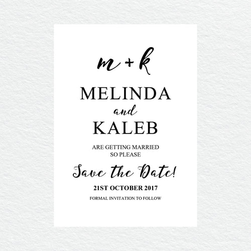 Ebony Script Save the Date Card