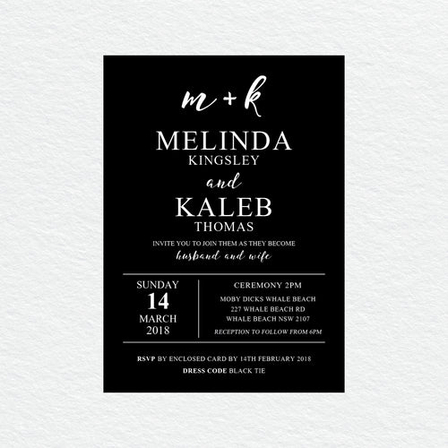 Ebony Script White Ink Invitation