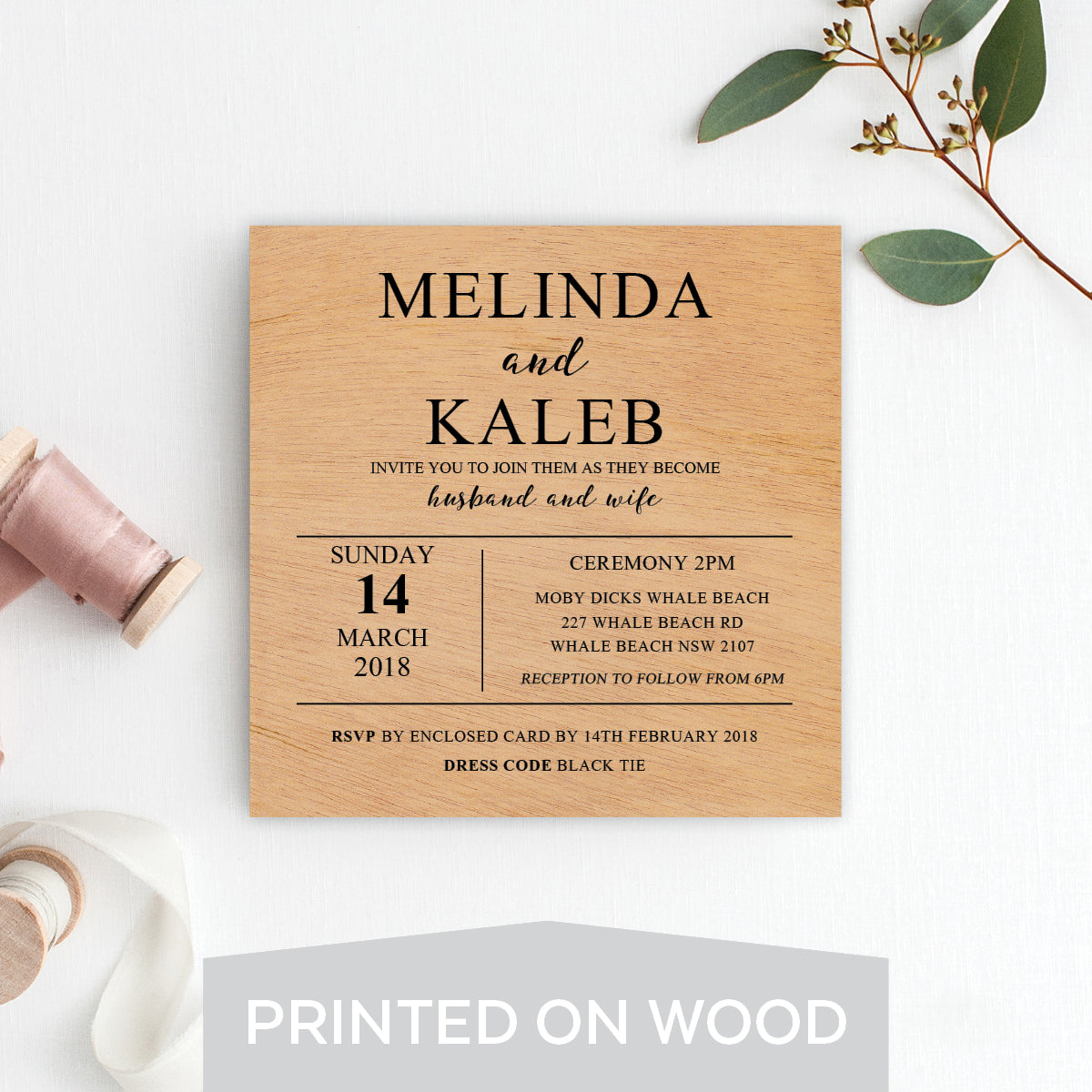 Ebony Script Wood Invitation