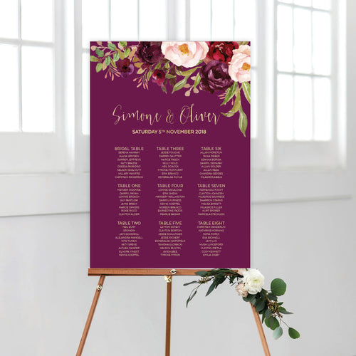Floral Marsala Seating Chart