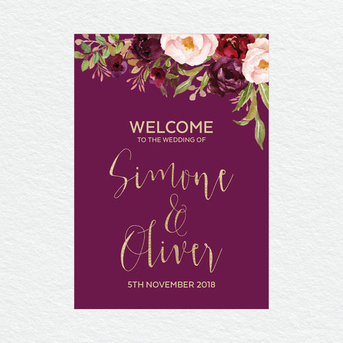 Floral Marsala Welcome Sign