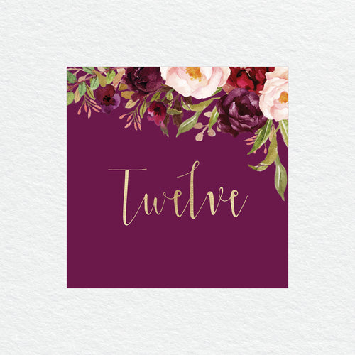 Floral Marsala Table Numbers
