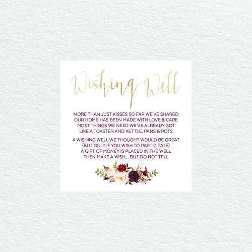 Floral Marsala Wishing Well Card