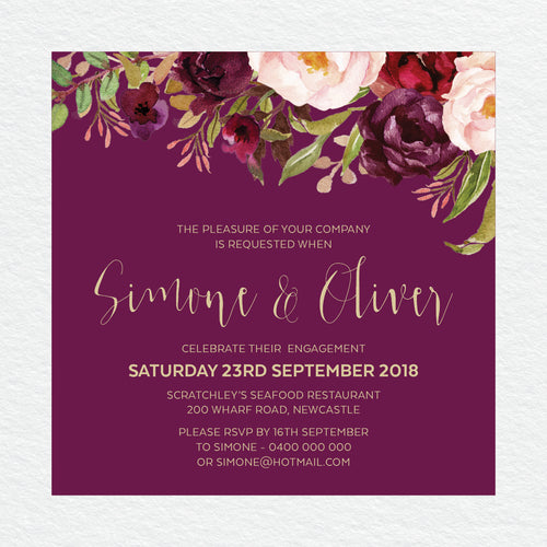 Floral Marsala Engagement Invitation