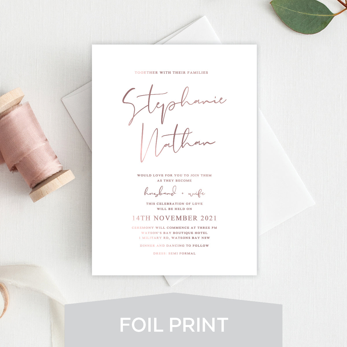 Forever in Love Foil Invitation
