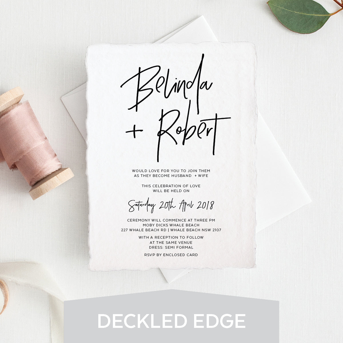 Fresh Type Deckled Edge Invitation