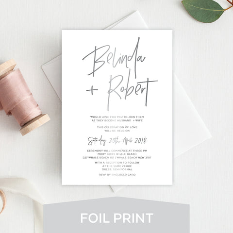 Fresh Type White Ink Invitation