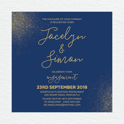 Glitter Bomb Engagement Invitation