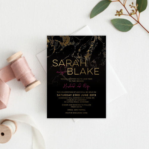 Gold Marble Rectangle Invitation