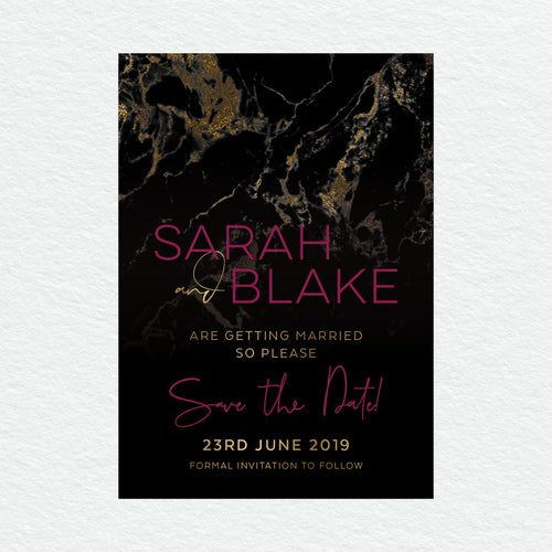 Gold Marble Save the Date Card