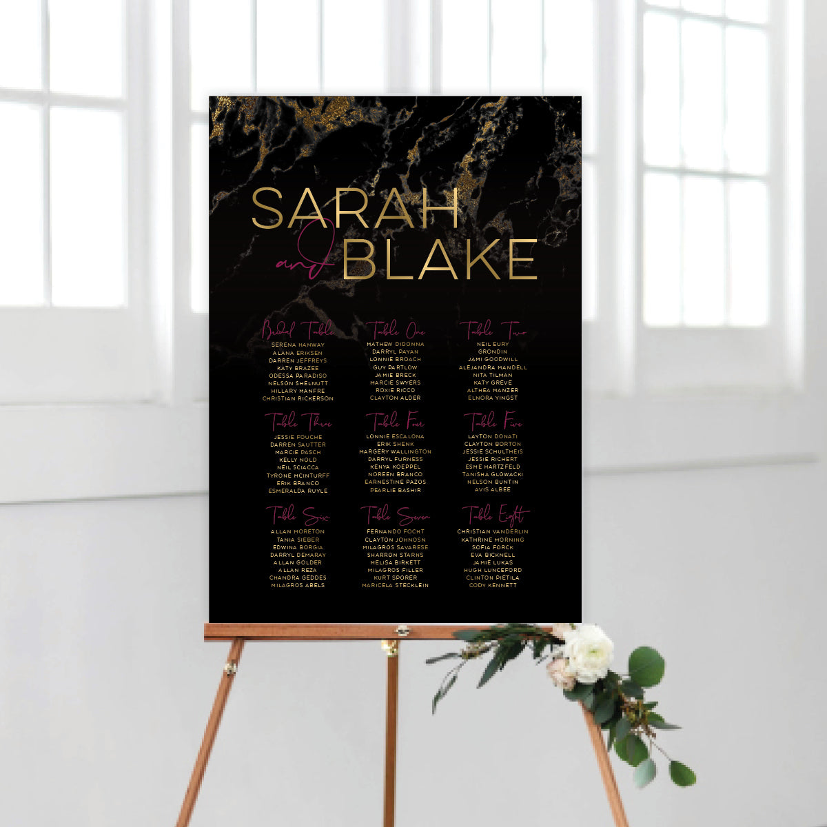 Gold Marble Seating Chart