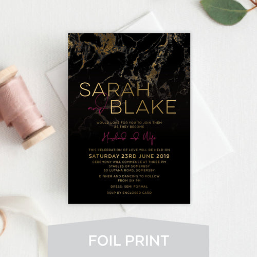 Gold Marble Foil Invitation