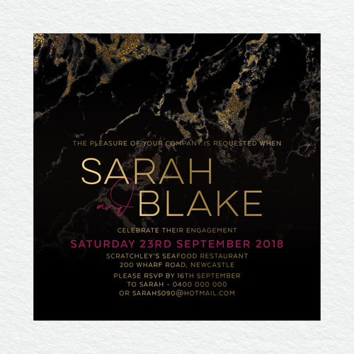 Gold Marble Engagement Invitation