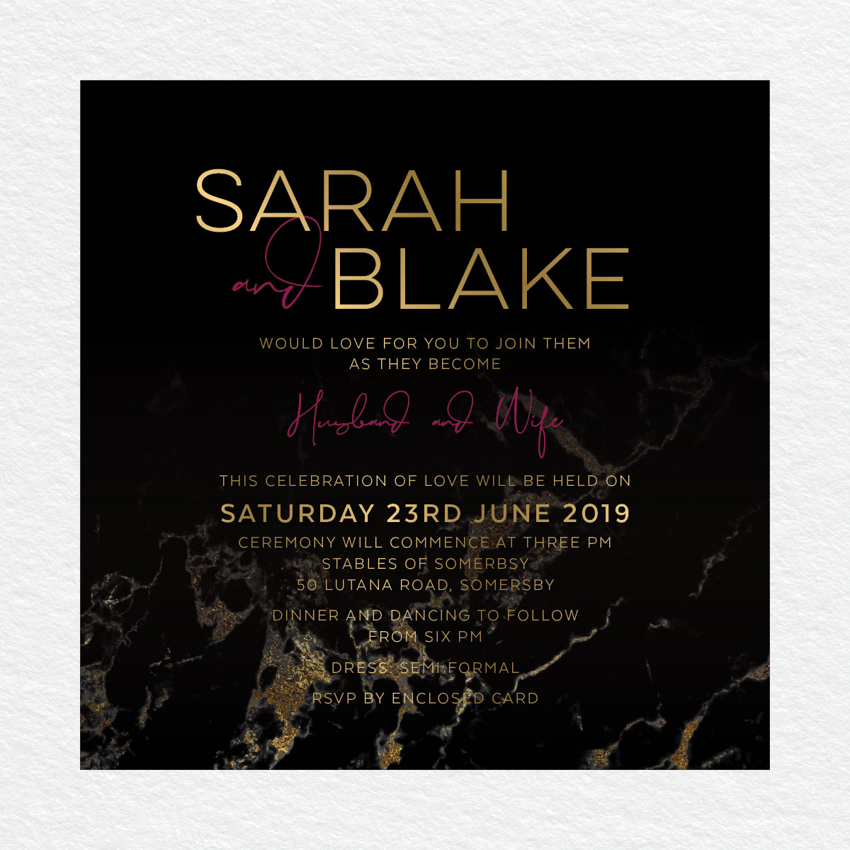 Gold Marble Square Invitation