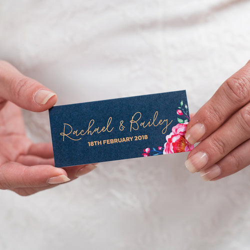 In Bloom (Navy) Placecard