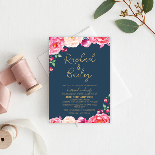 In Bloom (Navy) Rectangle Invitation