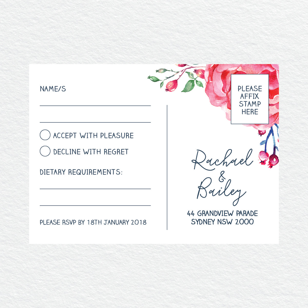 In Bloom (Navy) RSVP Card