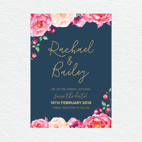 In Bloom (Navy) Save the Date Card