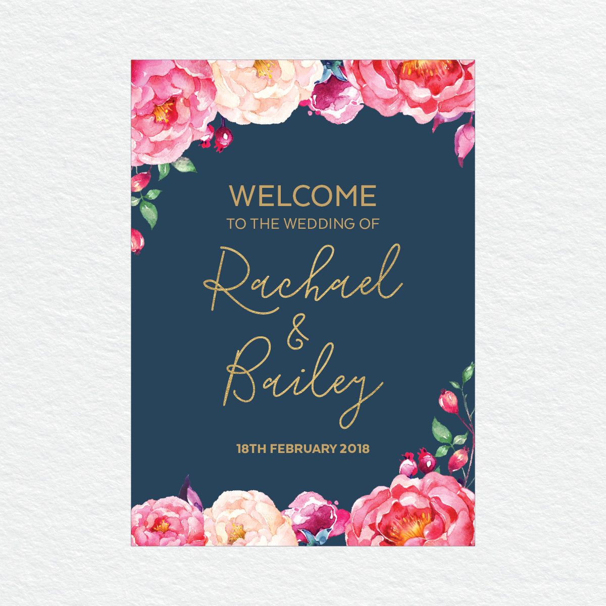 In Bloom (Navy) Welcome Sign