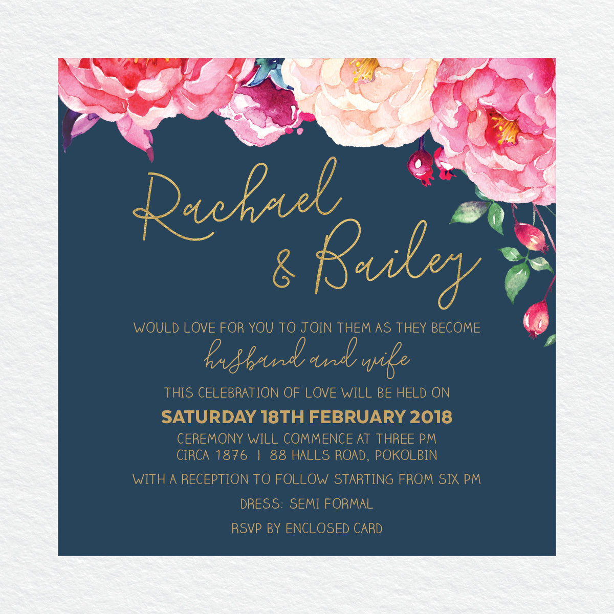 In Bloom (Navy) Square Invitation