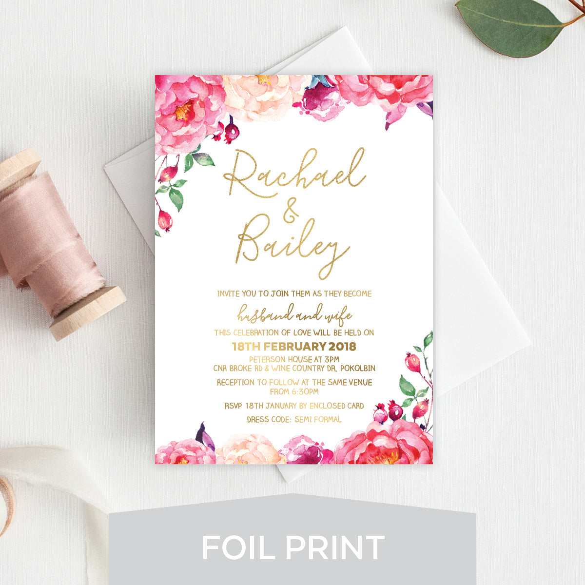 In Bloom (White) Foil Invitation