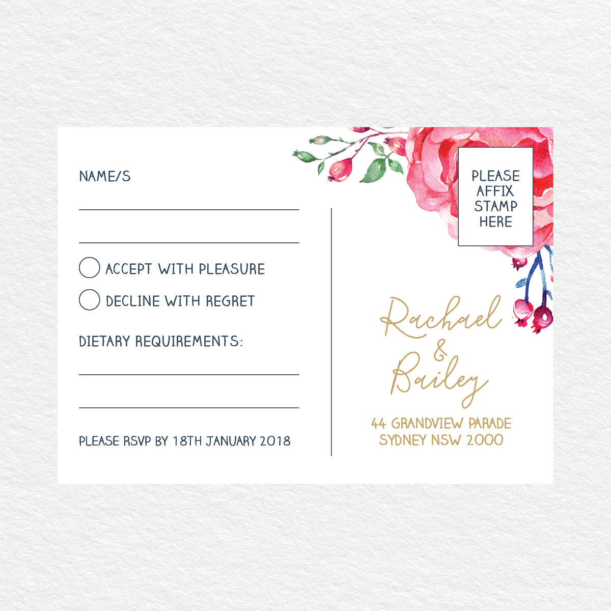 In Bloom (White) RSVP Card