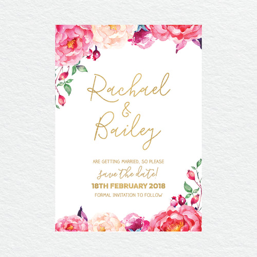 In Bloom (White) Save the Date Card