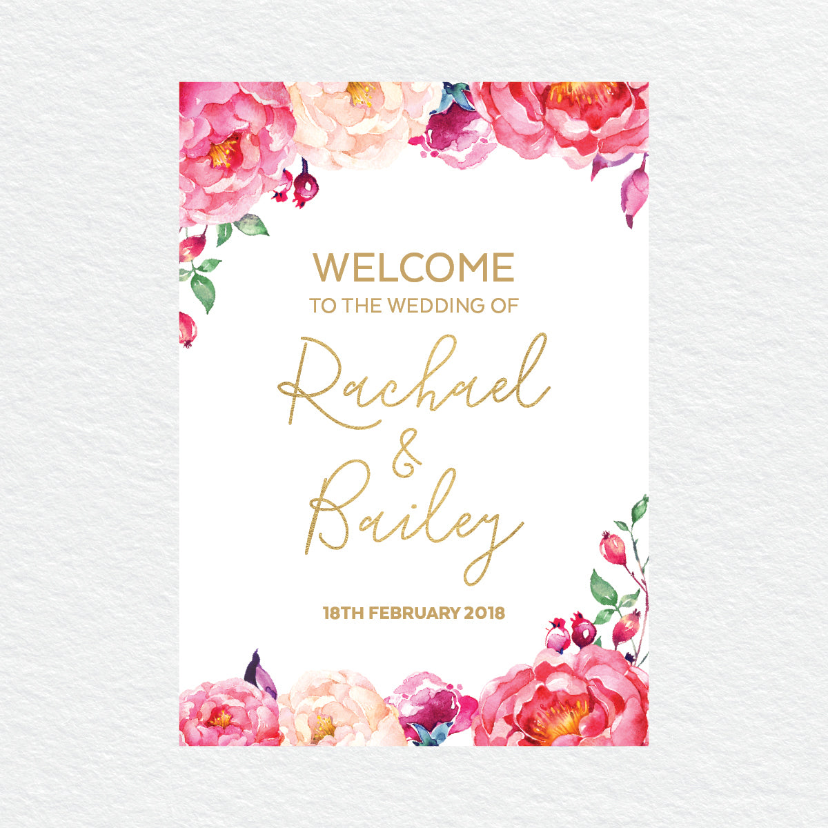 In Bloom (White) Welcome Sign