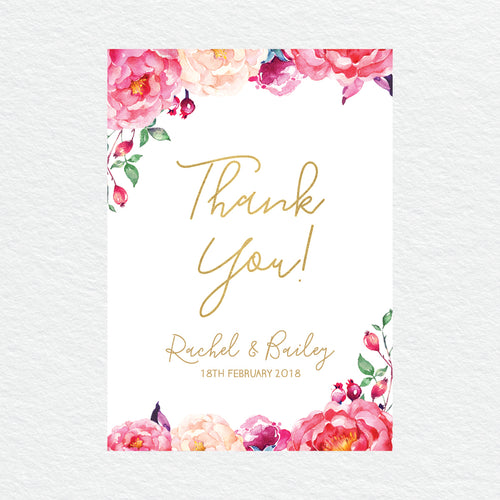 In Bloom (White) Thankyou Cards