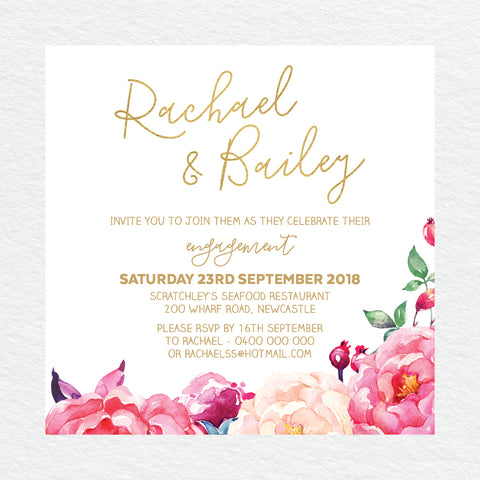 In Bloom (Navy) Engagement Invitation