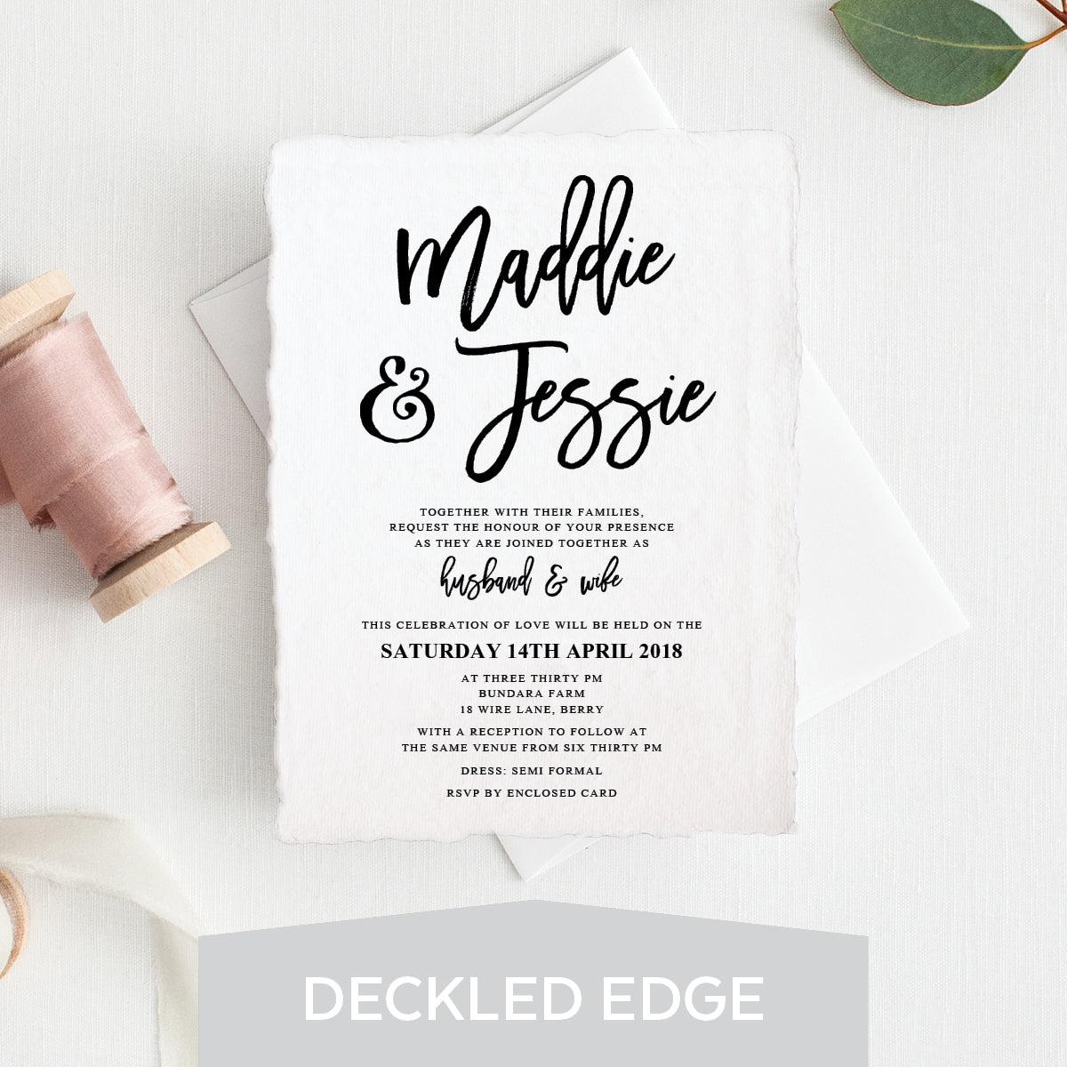 Kraft Party Deckled Edge Invitation