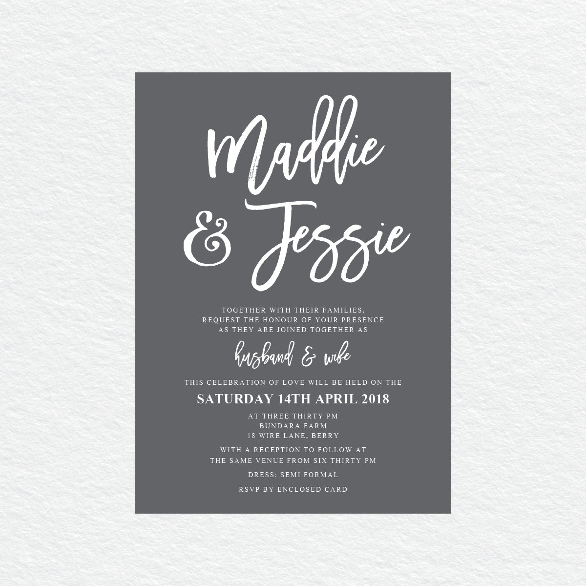 Kraft Party White Ink Invitation