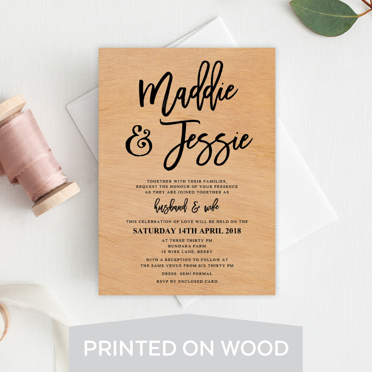 Kraft Party Wood Invitation