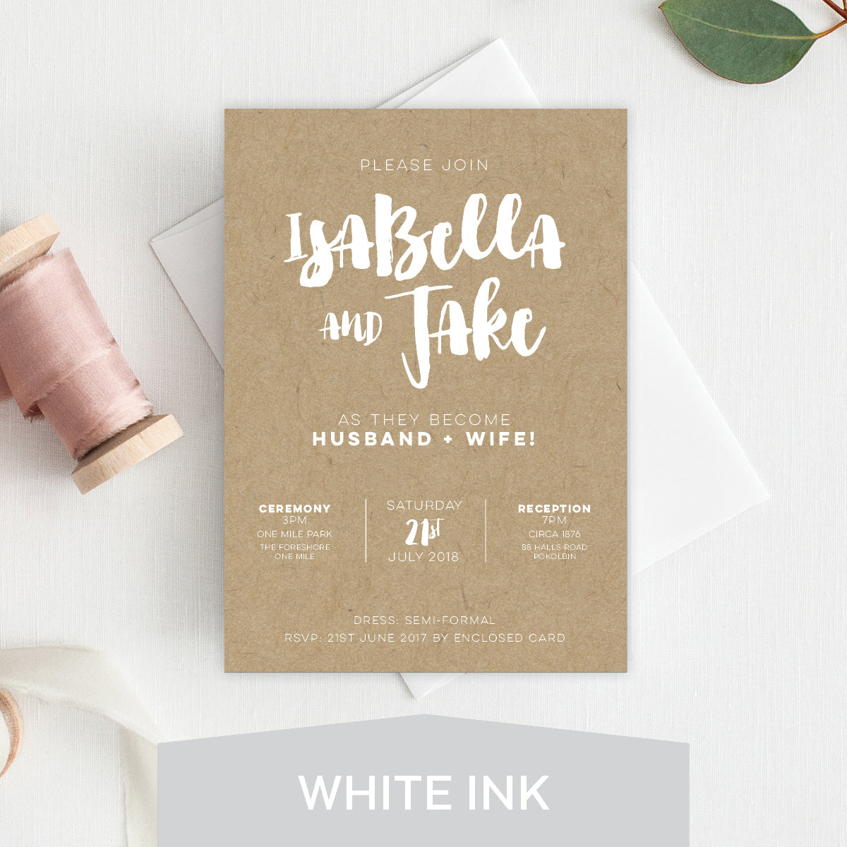 Love Struck White Ink Invitation