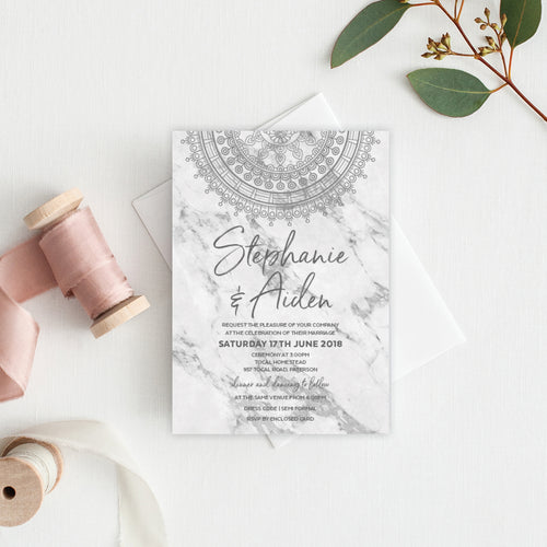 Marble Mandala Rectangle Invitation
