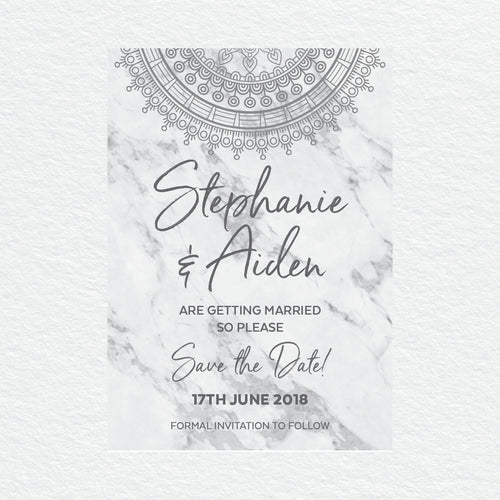 Marble Mandala Save the Date Card