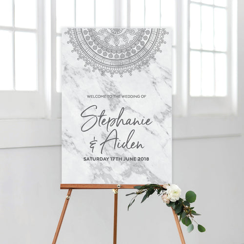 Marble Mandala Welcome Sign
