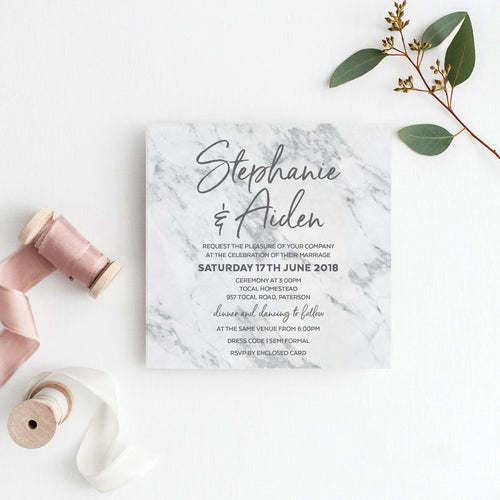 Marble Mandala Square Invitation