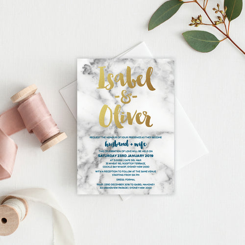 Modern Marble Rectangle Invitation