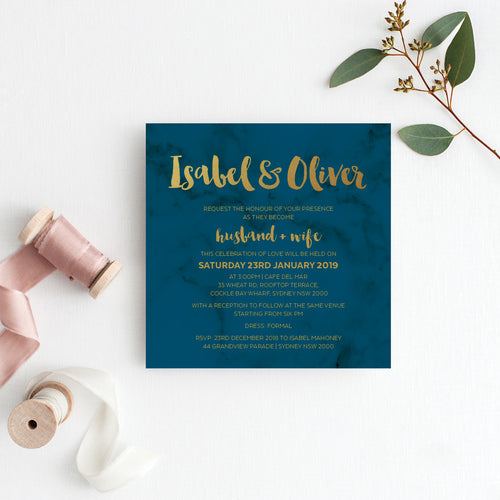 Modern Marble Square Invitation