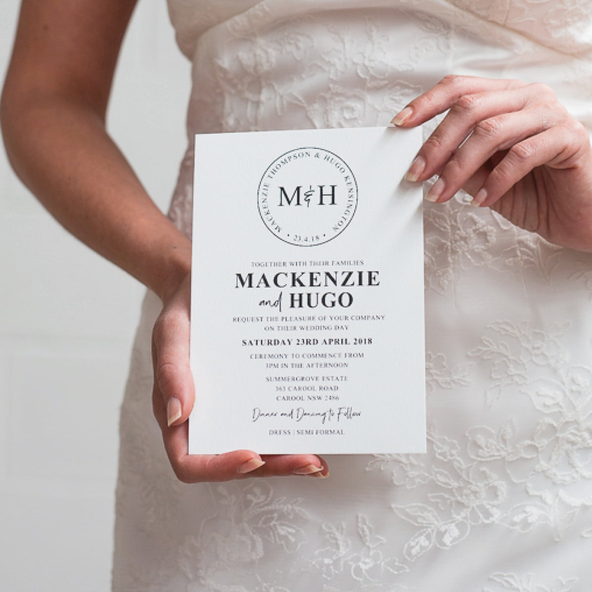 Modern Monogram Rectangle Invitation