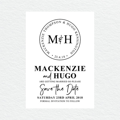 Modern Monogram Save the Date Card