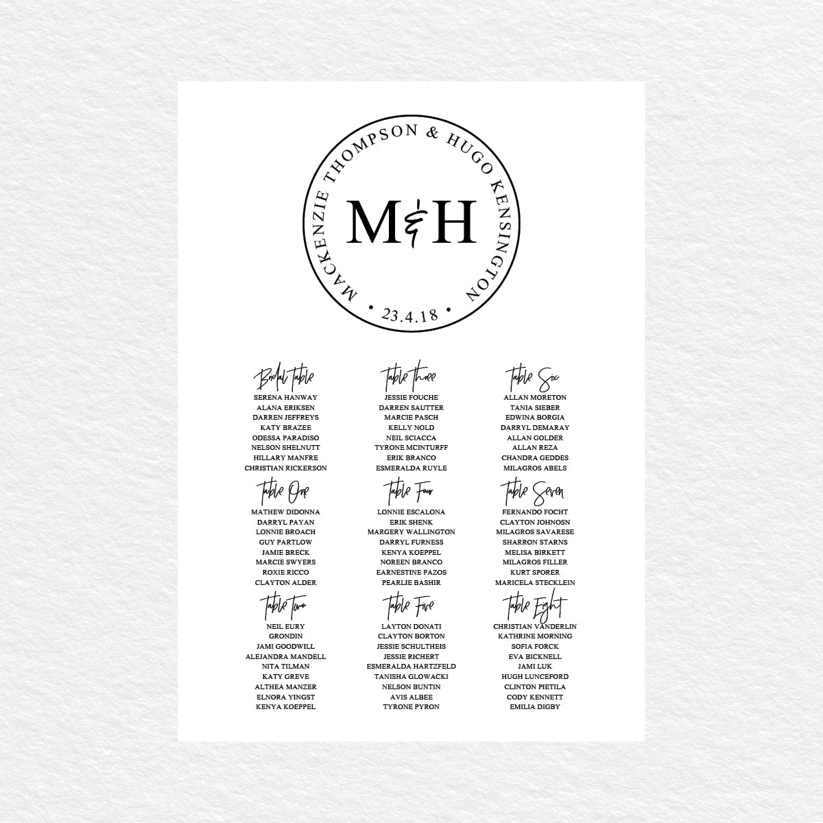 Modern Monogram Seating Chart