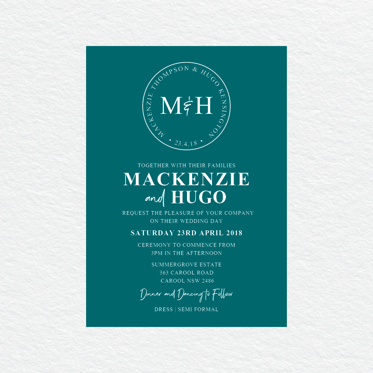 Modern Monogram White Ink Invitation