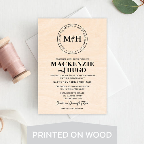 Modern Monogram Wood Invitation