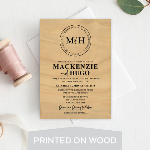 Destination Wedding Wood Invitation