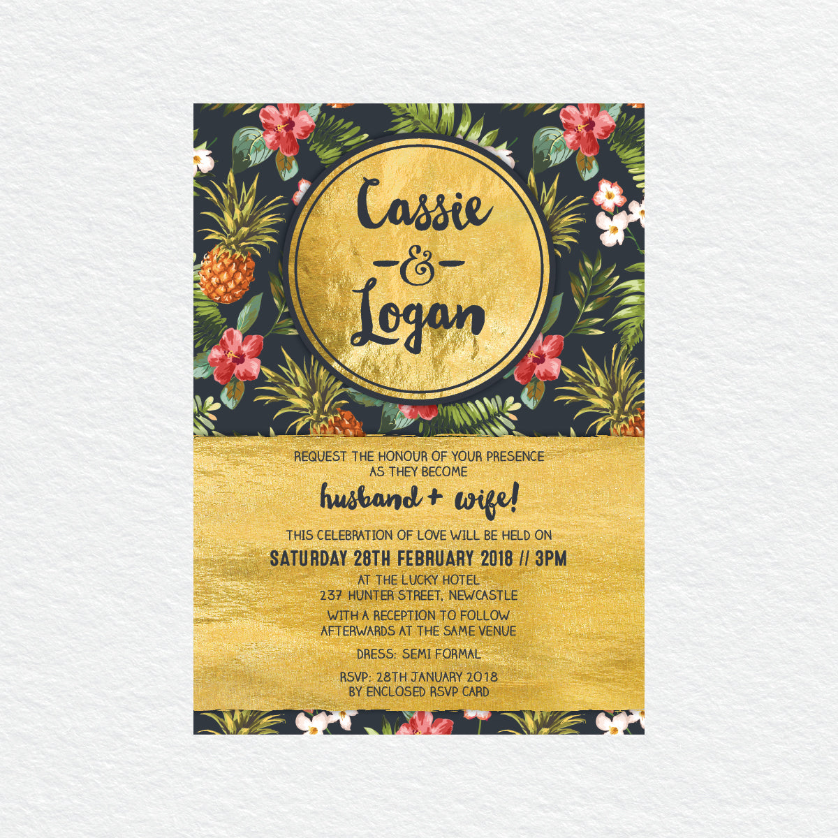 Pineapple Punch Rectangle Invitation
